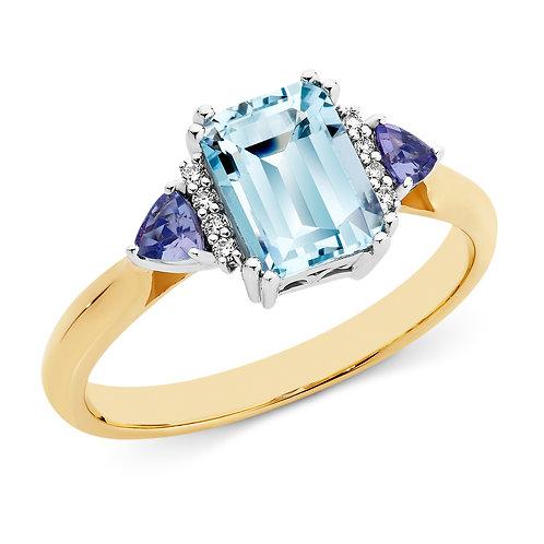 """""""Ellerie"""" Aquamarine & Tanzanite Ring"""