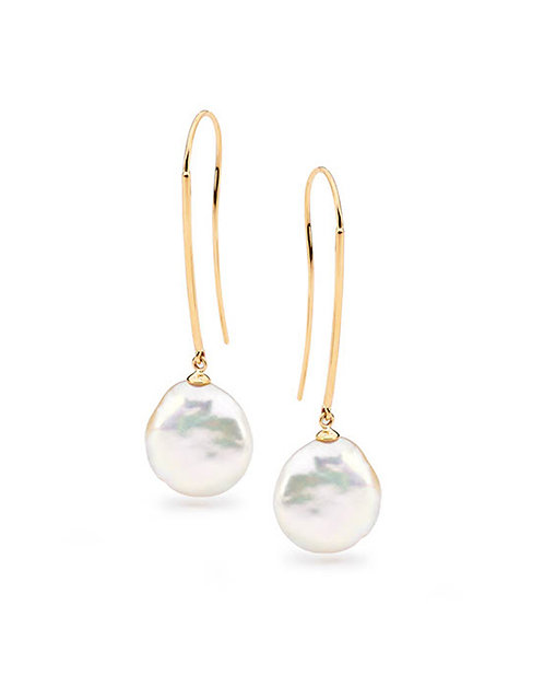 """Sabina"" Coin Pearl Earrings"