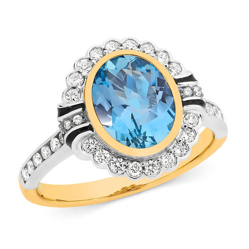 """""""Senorita"""" Blue Topaz and Diamond Ring"""