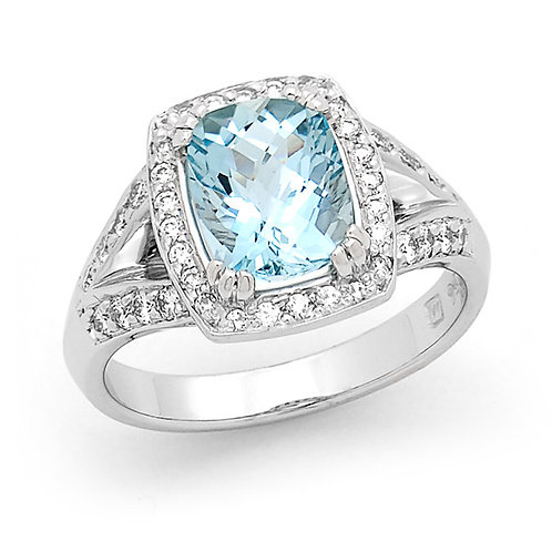 """Antonia"" Aquamarine and Diamond Ring"