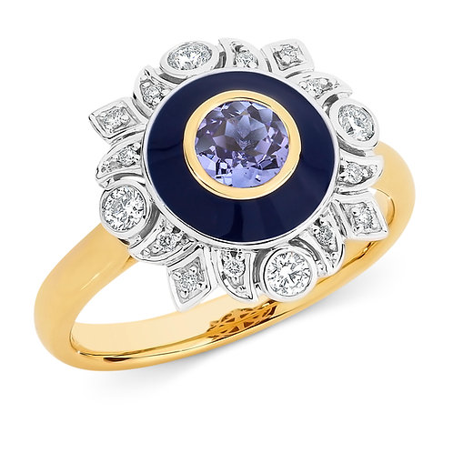 """Xyla"" Tanzanite, Enamel and Diamond Dress Ring"