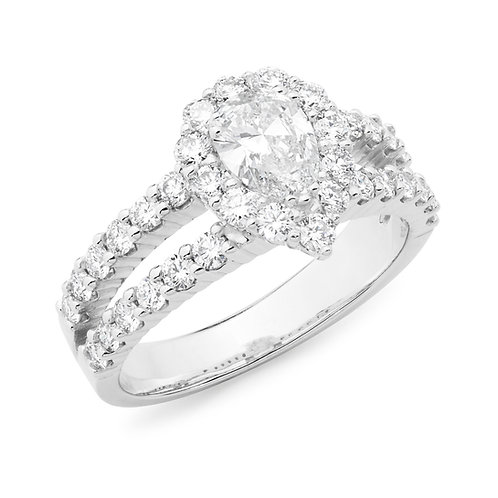 """Queen Kate"" Pear Shape Diamond Halo Ring"