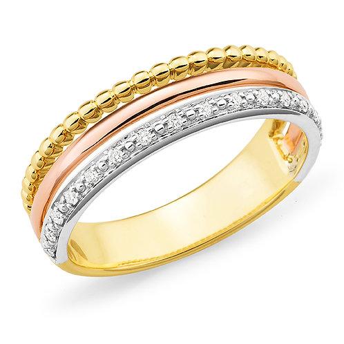 Three Tone Diamond Dress Ring