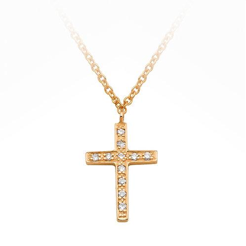 Diamond Set Cross Gold Anklet