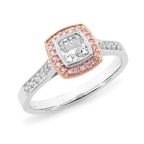 """Princess50"" Halo Cushion Cut Diamond Ring with Pink Diamonds"