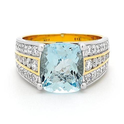 "'Kaitlyn"" Aquamarine and Diamond Ring"