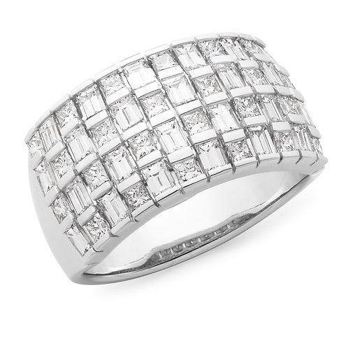 """""""Nightlife"""" Princess & Baguette Cut Wide Diamond Ring"""
