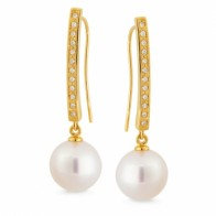 """Lustre"" South Sea Pearl and Diamond Drop Earrings"