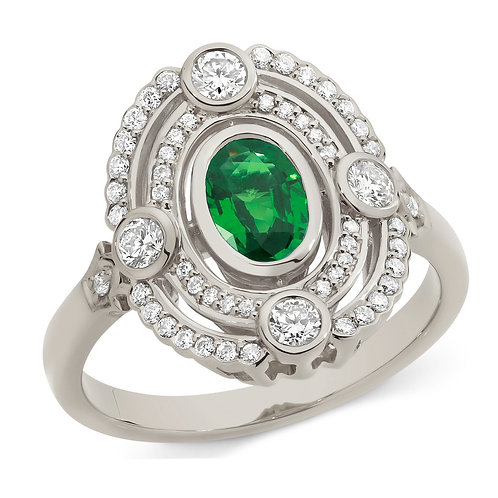 """Josephine"" Emerald and Diamond Ring"