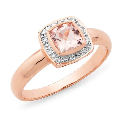 """Michelle"" Morganite and Diamond Dress Ring"