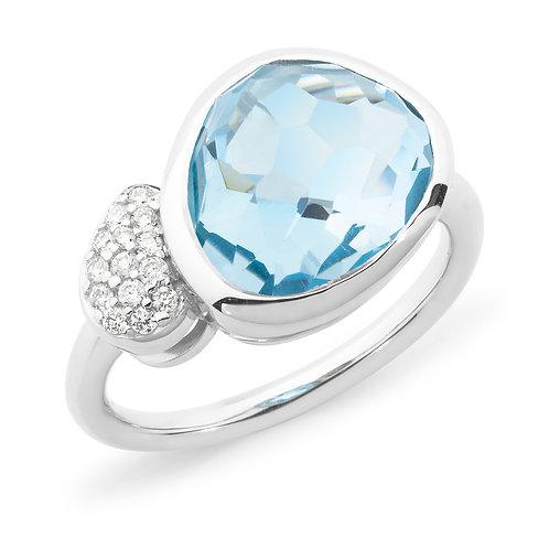 """Bonbon"" Blue Topaz and Diamond Ring"