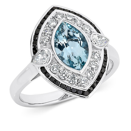 """Florence"" Aquamarine and Diamond Ring"