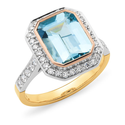 """Madeline"" Aquamarine and Diamond Ring"