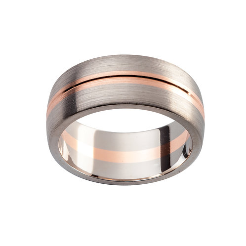 """Nyx"" Rose and White Gold Brushed Gents Ring"