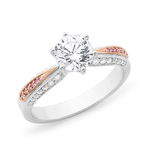 """Georgette"" Pink and White Diamond Engagement Ring"