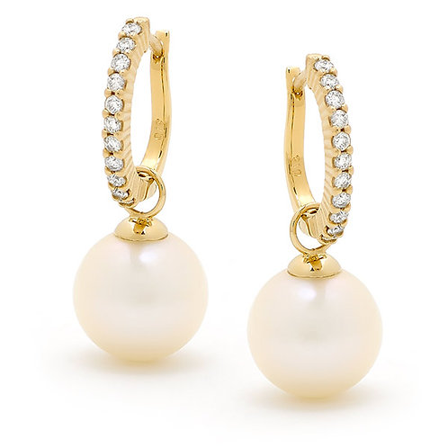 """Lady"" Detachable Diamond and Pearl Hoop Earrings"