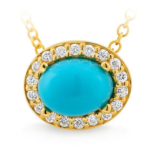 """""""Lotus"""" Turquoise and Diamond Slider Pendant"""