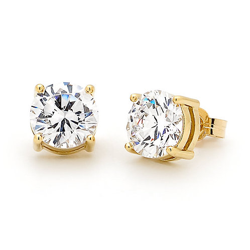 """Starbrite"" Gold Cubic Zirconia Stud Earrings"