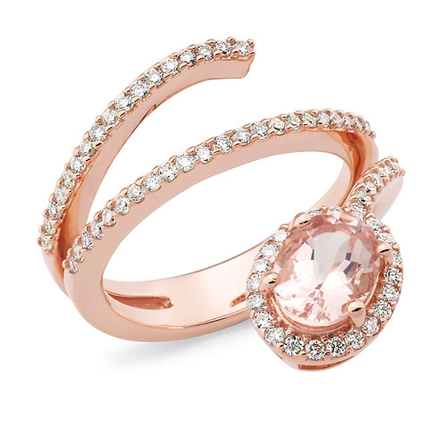 """Mikayla"" Morganite and Diamond swirl Dress Ring"
