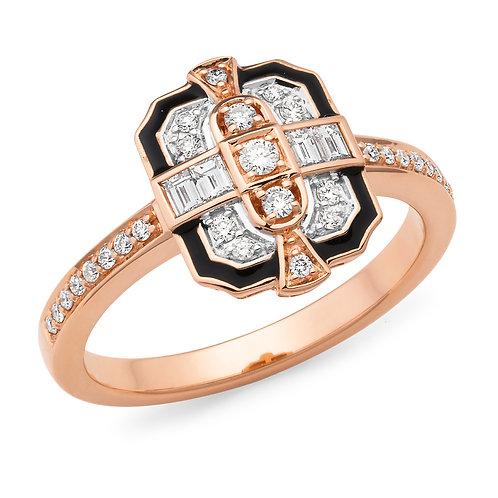 """Broadway"" Diamond & Enamel Dress Ring"