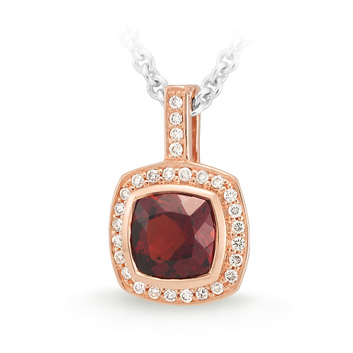 Cushion Garnet and Diamond Pendant