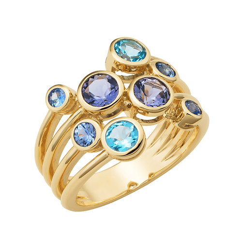 """Selina"" Topaz, Iolite and Ceylon Sapphire Dress Ring"