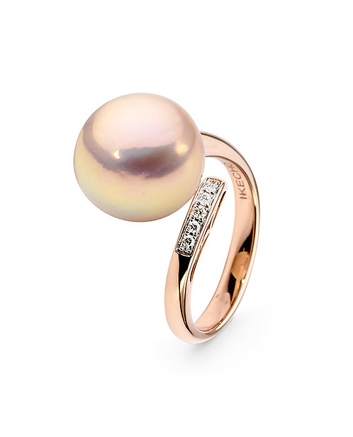 Pink Pearl and Diamond Ring