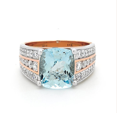 """Celine"" Aquamarine & Diamond Ring"