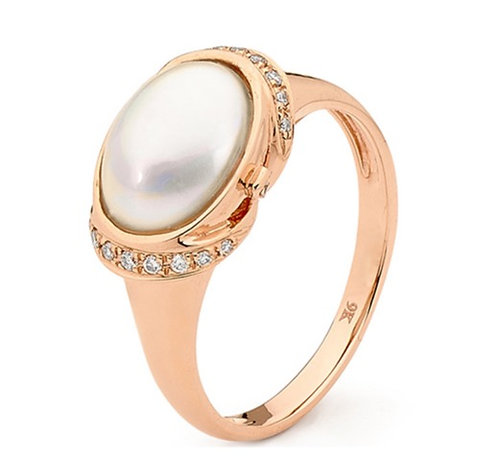 """""""Silk"""" Mabe Pearl and Diamond Ring"""