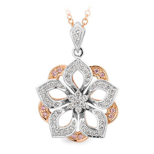"""Fleur"" Pink and White Diamond Pendant"