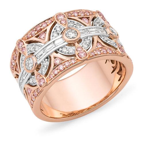 """Selene"" Pink and White Diamond Dress ring"