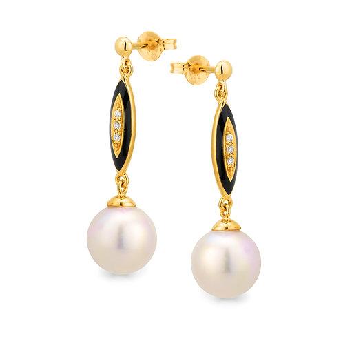 """Centuri"" Pearl, Diamond, and Enamel Drop Earrings"
