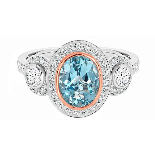 """Margie"" Aquamarine and Diamond Ring"