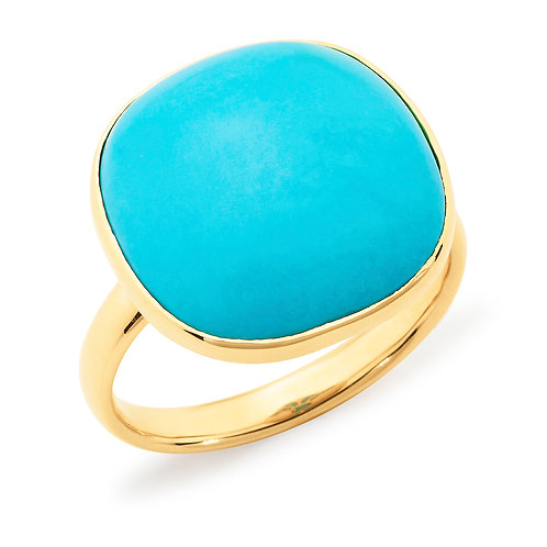 """""""Aztec"""" Turquoise and Gold Dress ring"""