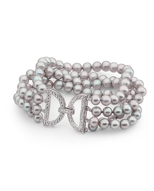 """""""Glamour"""" Freshwater Pearl and Sterling Silver Bracelet"""