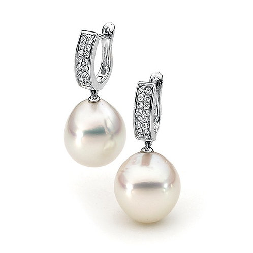 """Coco"" South Sea Pearl and Diamond Earrings"