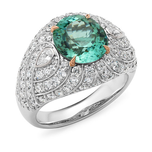 """Elysium"" Mint Tourmaline and Diamond Ring"