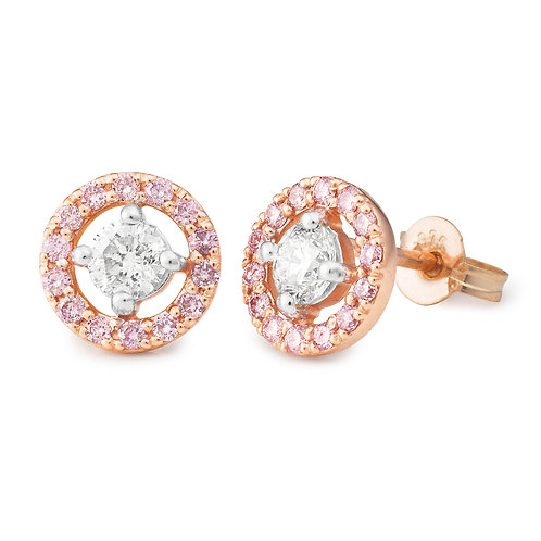 """LuminaPink"" Pink and White Diamond Halo Stud Earrings"