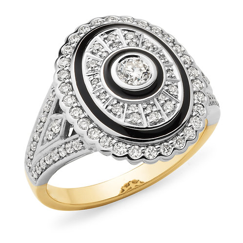 """Makeda"" Diamond and Enamel Dress Ring"