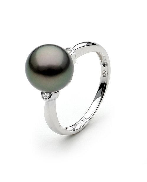 Tahitian Pearl and Diamond Ring