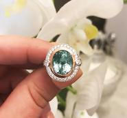 "The ""Sophia"" Green Tourmaline and Diamond Ring"