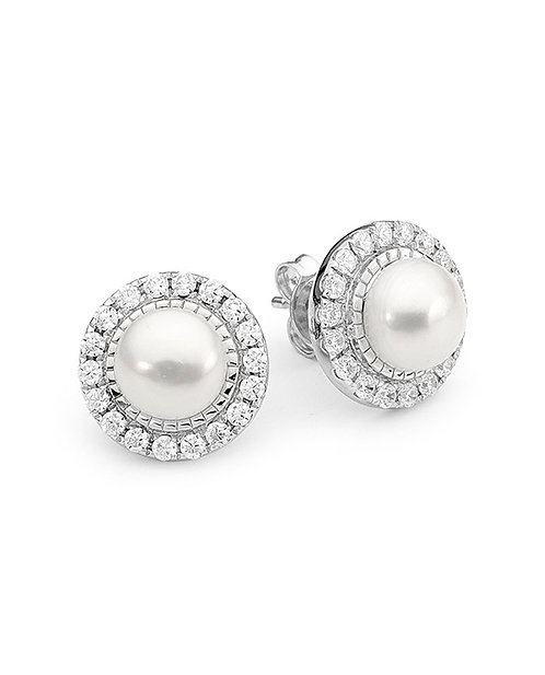 """Divine"" Freshwater Pearl and CZ Sterling Silver Detachable Earrings"