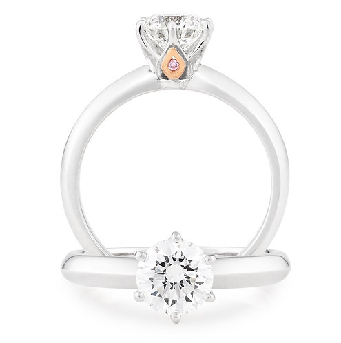 """Ava100 Pink"" Solitare Diamond Engagement Ring with Pink Diamond"