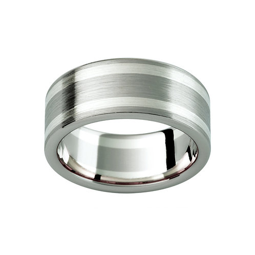 """Erebus"" Combination White Gold Mens Ring"