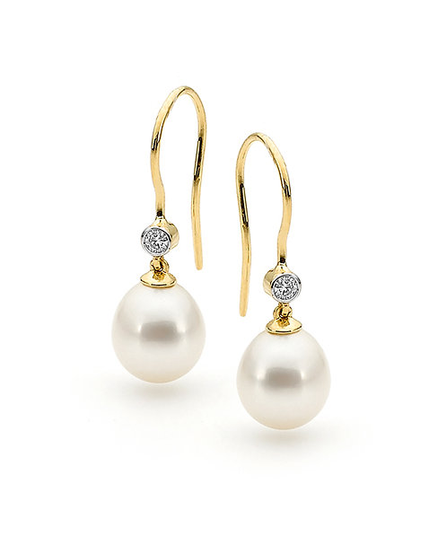 """Classic"" Freshwater Pearl and Diamond Earrings"