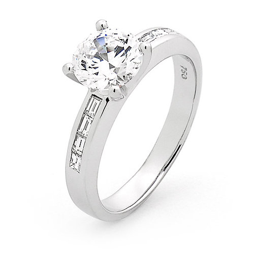 """Queen Amelia"" Brilliant and Baguette Diamond Engagement Ring"
