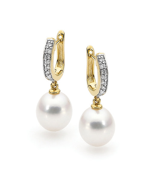 Drop Freshwater Pearl and Diamond Earrings
