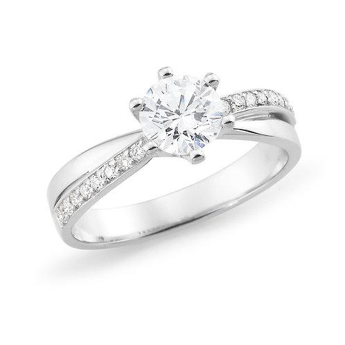 """""""Celeste"""" Cross band Diamond Engagement Ring"""
