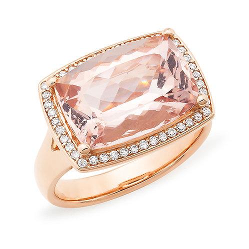 """""""Sunset"""" Morganite and Diamond Ring"""