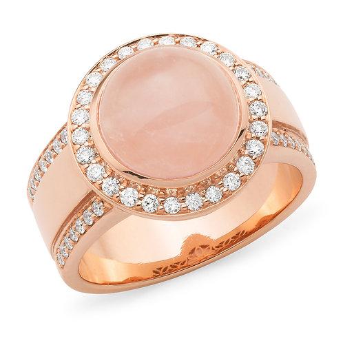 """Cleopatra"" Rose Quartz and Diamond Ring"